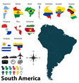 Maps with flags of South America vector image vector image