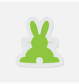 Simple green icon - back Easter bunny vector image
