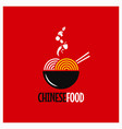 chinese food logo chinese noodles or pasta on red vector image