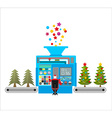 Factory machine for release of beautiful Christmas vector image