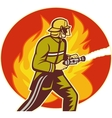 Firefighter fireman with water hose fighting fire vector image