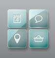 Glass buttons interface template vector image