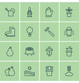 set of 16 holticulture icons includes rake hang vector image
