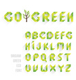 Origami Green Eco Font vector image vector image
