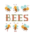 Cute colorfulbee characters set vector image