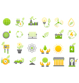 Eco yellow green icons set vector image vector image