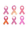 Cancer pink ribbons set vector image
