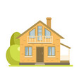 cute cottage brick house with balcony and attic vector image