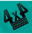 Tire tracks grunge 4x4 background vector image