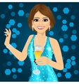 woman holding a champagne glass vector image