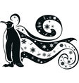 penguin and snowflakes vector image vector image