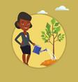 woman watering tree vector image