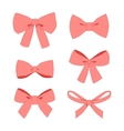 Set of pink vintage gift bows wih ribbons vector image