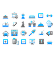 Entertainment gray blue icons set vector image vector image