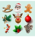 Christmas icons objects vector image