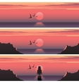 Set horizontal banners of sunset over the sea vector image