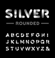 Silver rounded font alphabet with chrome effect vector image