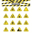 Signs warning of the danger from explosives and vector image