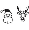 Santa and deer face vector image