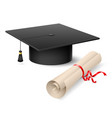 Graduation cap and diploma on white background vector image