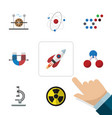 flat icon science set of glass electrical engine vector image