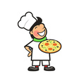 Happy Chef with a Freshly Baked Pizza vector image