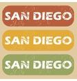 Vintage San Diego stamp set vector image