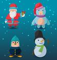 Christmas Character Cartoon Design Set vector image