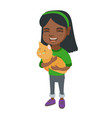 african-american happy girl holding a cat vector image
