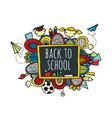 Back to School Blackboard Hand Drawn Doodle Bright vector image