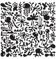 floral elements plants - doodles set vector image
