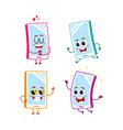 funny cartoon mobile phone smartphone character vector image