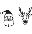 Santa and deer face vector image