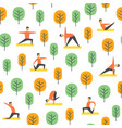 seamless yoga poses pattern people in park vector image