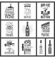 Set of vintage wine typographic quotes vector image