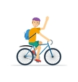 Happy man on bicycle vector image vector image