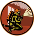 Fireman firefighter kneeling with fire hose vector image