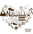 Netherlands symbols in heart shape concept vector image