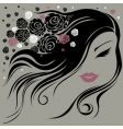 decorative vintage woman with flowers vector image vector image