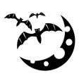 Bats and moon icon simple style vector image