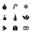 black cristmas icons set vector image
