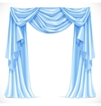 Blue curtain draped with pelmet isolated on a vector image
