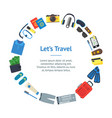 cartoon vacation and travel banner card circle vector image