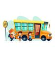 children get on school bus vector image