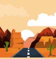 colorful background of desert sunset landscape vector image
