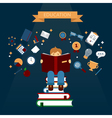 Concept of Education with Reading Books Boy vector image