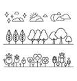 Trees Flower And Sky Countour Black White Set vector image