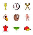 baseball uniform icons set cartoon style vector image
