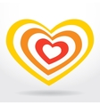Red orange heart on white background Valentines vector image