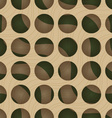 Retro 3D circles and green waves under vector image